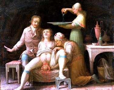 Medical painting of birth from france